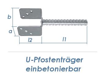 141mm U-Pfostenträger einbetonierbar (1 Stk.)