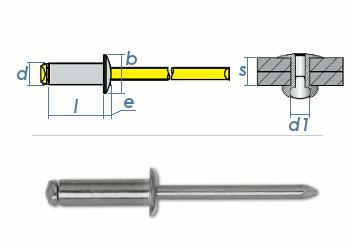 6 x 22mm Blindniete Alu/Stahl DIN7337 (10 Stk.)