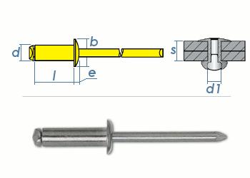 4 x 6mm Blindniete Stahl/Stahl DIN7337 (10 Stk.)