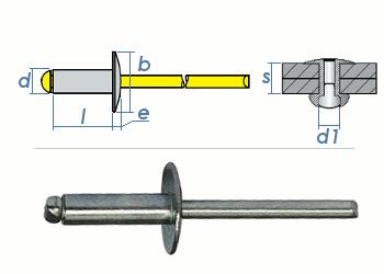 5 x 16mm Blindniete Alu/Stahl m. großem Kopf (10 Stk.)