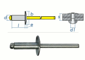 5 x 18mm Blindniete Alu/Stahl m. großem Kopf (10 Stk.)