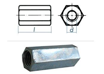 Au/ßen/Ø=10mm 20 St/ück Verzinkt M6 x 15 20X M6x15 Verbindungsmuttern Langmuttern Gewindeh/ülsen Distanzmuffen Gewindemuffen rund galv
