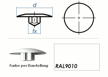 TX15 Abdeckkappe RAL9010 / weiss  (10 Stk.)