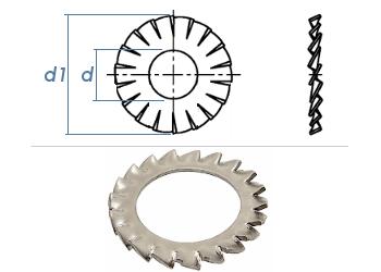 5,3mm Fächerscheiben Form AZ  DIN6798 Edelstahl A2 (100 Stk.)