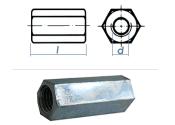 M14 x 50mm Gewindemuffe Sechskant Stahl verzinkt  (1 Stk.)