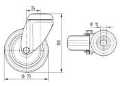 75 x 25mm Lenkrolle Gummi ohne Feststeller mit Rückenloch (1 Stk.)