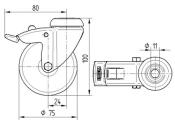 75 x 25mm Lenkrolle Gummi mit Feststeller und Rückenloch (1 Stk.)