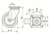 75 x 25mm Lenkrolle Gummi ohne Feststeller mit Anschraubplatte (1 Stk.)