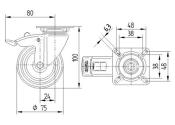 75 x 25mm Lenkrolle Gummi mit Feststeller und Anschraubplatte (1 Stk.)