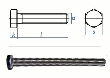 M6 x 50mm Sechskantschrauben DIN933 Vollgewinde Edelstahl A2 (10 Stk.)
