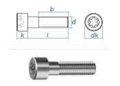 M2,5 x 6mm Zylinderschrauben TX ISO14579 Edelstahl A2 (10...