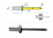 3,2 x 8mm Dicht-Becherblindniete Alu/Stahl DIN15973 (10 Stk.)