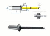 4,8 x 16mm Dicht-Becherblindniete Alu/Stahl DIN15973 (10...
