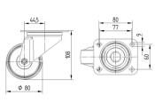 80 x 34mm Lenkrolle Polyamid ohne Feststeller mit Anschraubplatte (1 Stk.)