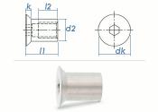 M3 x 7mm Hülsenmutter mit Senkkopf ISK Edelstahl A1...