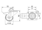 80 x 34mm Lenkrolle Polyamid mit Feststeller und Anschraubplatte (1 Stk.)