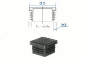 60 x 60mm / WS:2,6-4mm Lamellenstopfen quadratisch PE...