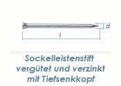 1,4 x 25mm Sockelleistenstifte vergütet Stahl verzinkt (100 Stk.)