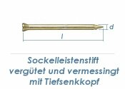 1,4 x 20mm Sockelleistenstifte vergütet Stahl vermessingt (100 Stk.)