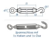 M8 Spannschloss mit 1 Ösen & 1 Haken Edelstahl A4 (1 Stk.)