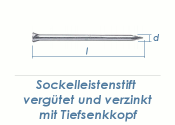 1,4 x 30mm Sockelleistenstifte vergütet Stahl verzinkt (100 Stk.)