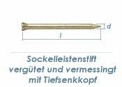 1,4 x 35mm Sockelleistenstifte vergütet Stahl vermessingt (100 Stk.)