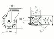 100 x 32mm Lenkrolle Gummi ohne Feststeller mit Anschraubplatte (1 Stk.)