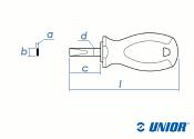 6,5 x 25mm UNIOR Schlitz-Schraubendreher kurz mit 3K-Griff (1 Stk.)