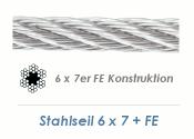 2mm 6x7+ FE Drahtseil DIN3055 Stahl verzinkt (je 1 lfm)