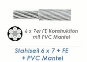 4/6mm 6x7+ FE Drahtseil DIN3055 Stahl verzinkt mit PVC Mantelung  (je 1 lfm)
