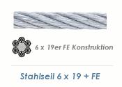 8mm 6x19 + FE Drahtseil DIN3060 Stahl verzinkt (je 1 lfm)
