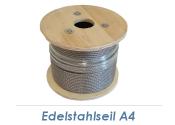 4mm 7x7-Drahtseil Edelstahl A4 (250lfm Spule)