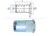 M4 x 5,9 x 10mm Blindnietmutter Mini-Senkkopf Stahl verzinkt (10 Stk.)