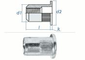 M5 x 6,9 x 12mm Blindnietmutter Flachkopf AlMg5 (10 Stk.)