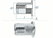 M8 x 10,9 x 16mm Blindnietmutter Flachkopf AlMg5 (10 Stk.)