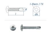 4,8 x 50mm Bohrschrauben Linsenkopf TX DIN7504 Stahl...