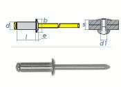 3 x 6mm Blindniete Alu/Stahl DIN7337 (100 Stk.)