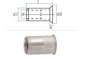 M5 x 6,9 x 11,5mm Blindnietmutter Mini-Senkkopf Edelstahl A2 (10 Stk.)