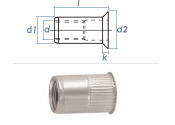 M8 x 10,9 x 15,5mm Blindnietmutter Mini-Senkkopf...
