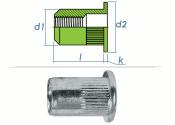 M5 x 6,9 x 12mm Blindnietmutter Flachkopf Edelstahl A2...