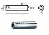 M3 x 4mm Gewindestift Ringschneide DIN916 Edelstahl A2...