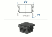 20 x 20mm / WS:0,8-3mm Lamellenstopfen quadratisch PE...
