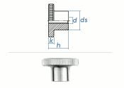 M8 Rändelmutter hohe Form DIN466 Stahl verzinkt (1...