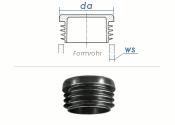 28mm / WS:0,8-2,5mm Lamellenstopfen rund PE schwarz (10...