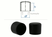 10mm Kappen für Rundrohre PVC schwarz (10 Stk.)