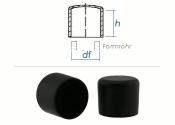 22mm Kappen für Rundrohre PVC schwarz (10 Stk.)