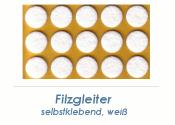 16mm Filzgleiter weiss selbstklebend  (1 Karte zu 50 Stk.)