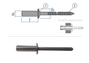 4,8 x 10mm Dicht-Becherblindniete  Edelstahl A2/C1...