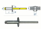 4 x 10mm Blindniete Alu/Stahl m. großem Kopf (10 Stk.)