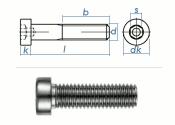 M8 x 20mm Zylinderschraube DIN6912 Edelstahl A2 (10 Stk.)